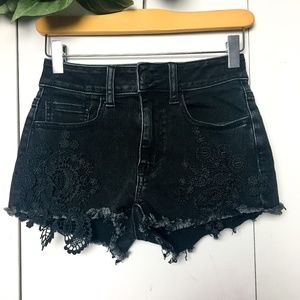 AEO Black Lace High Waisted Jean Shorts